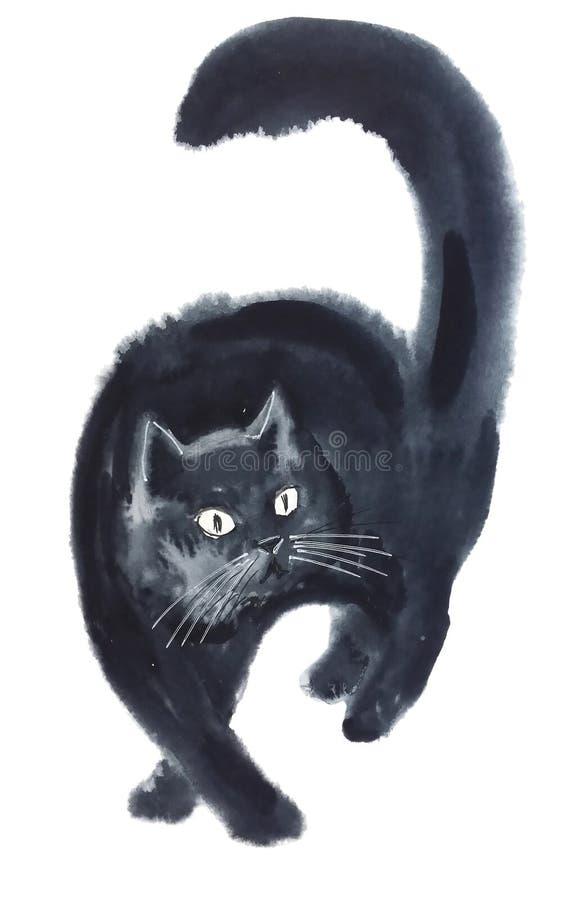 Black cat coming at us. Fluffy beautiful cute black cat coming at us isolated on white background, watercolor painting vector illustration