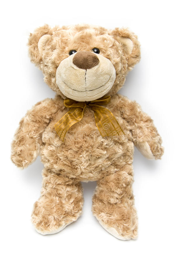 Fluffy brown teddy bear standing up royalty free stock photography