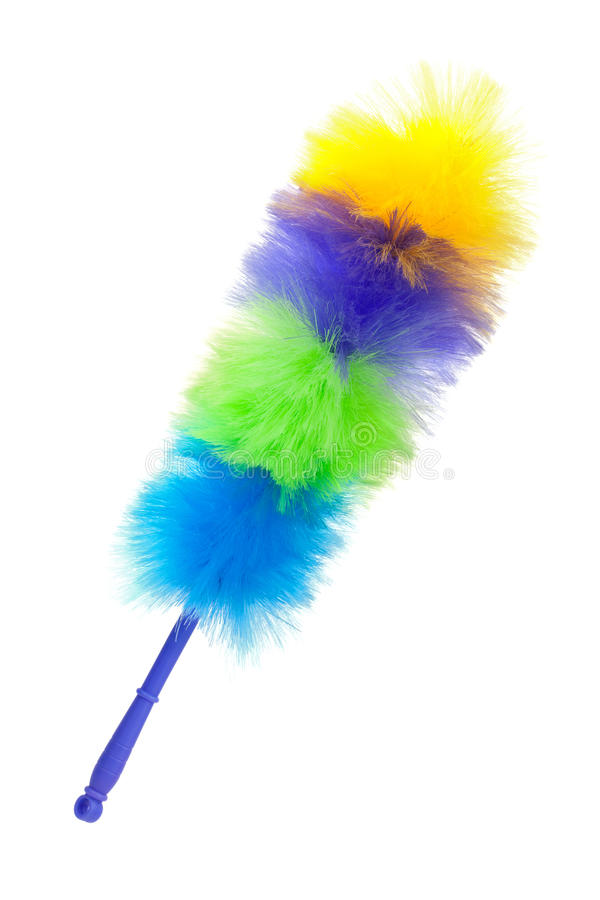 Fluffy brush to clean the dust. On a white background stock images