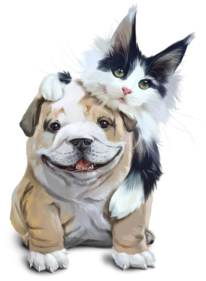 Fluffy cat embracing French bulldog. Watercolor drawing. White background stock illustration