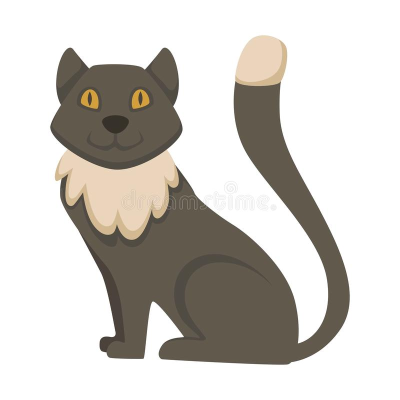 Fluffy cat with grey fur and long tail. Friendly pet with bright yellow eyes, adorable muzzle and small paws. Traditional domestic animal isolated cartoon flat royalty free illustration
