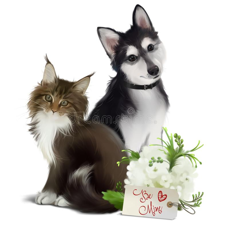 Fluffy cat, husky dog and spring flowers. Watercolor royalty free stock photo