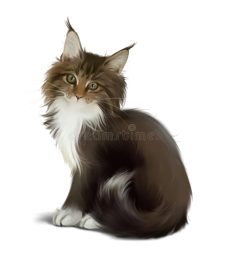 Fluffy cat sitting on the floor. Watercolor stock image