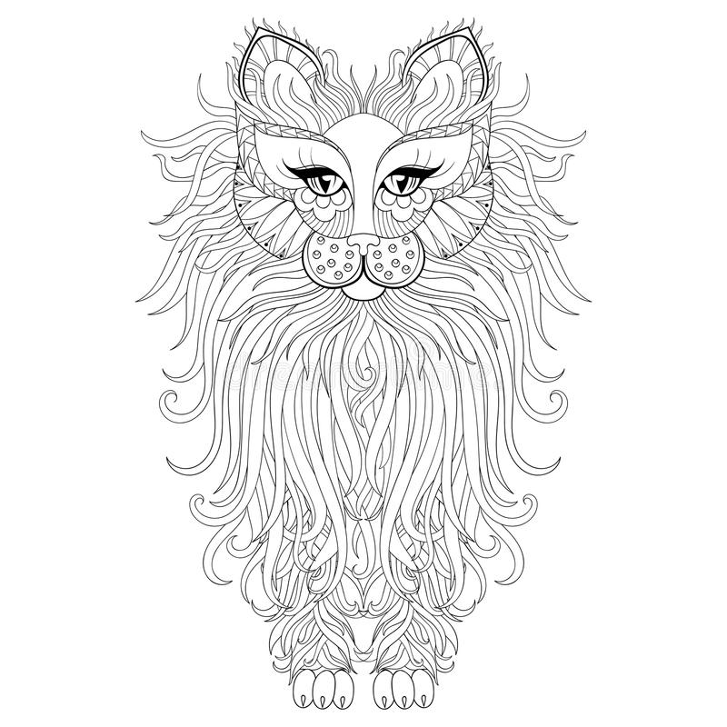 Fluffy Cat, zentangle style. Freehand sketch for adult antistress coloring page with doodle elements. Ornamental artistic vector stock illustration