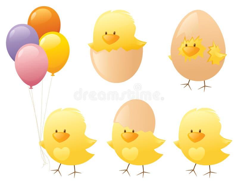 Fluffy Chicks. Cute little yellow Easter chicks vector illustration