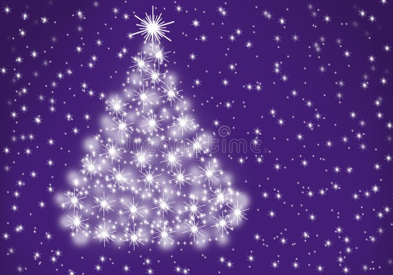 Fluffy Christmas tree on lavender background stock photography