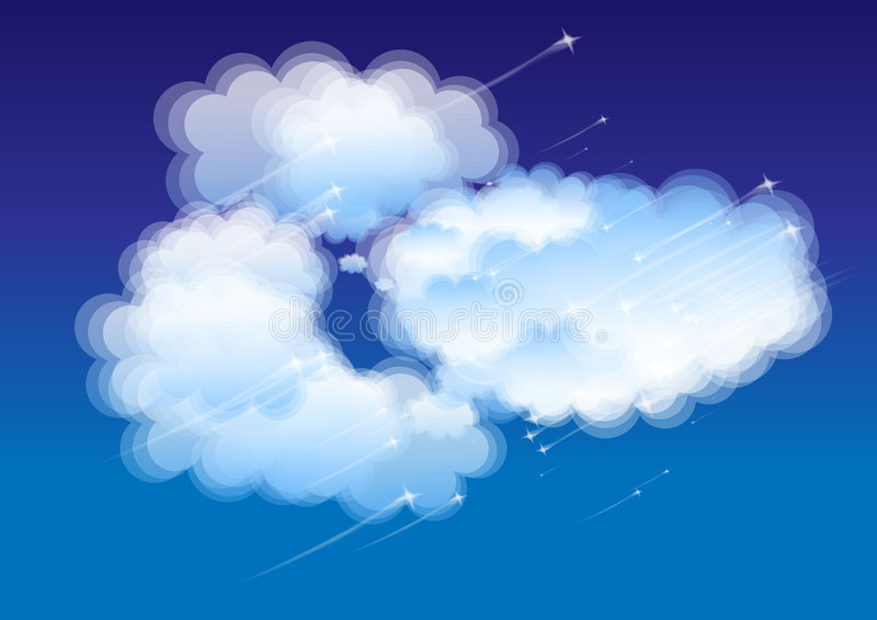 Fluffy clouds stock illustration