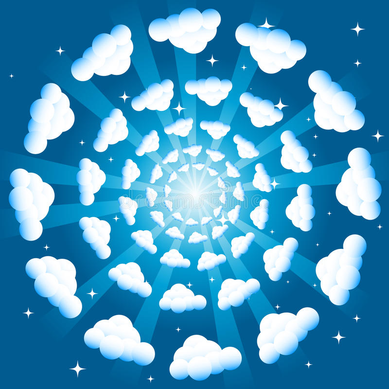 Clouds in concentric circles. Fluffy clouds in a concentric circle pattern against a blue sky stock illustration