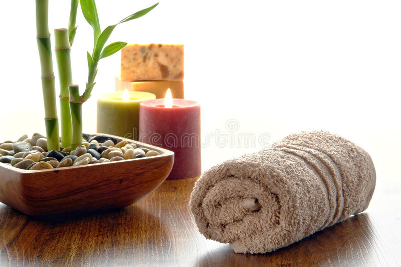 Fluffy Cotton Hand Towel And Bamboo Plant In A Spa Royalty Free Stock Image