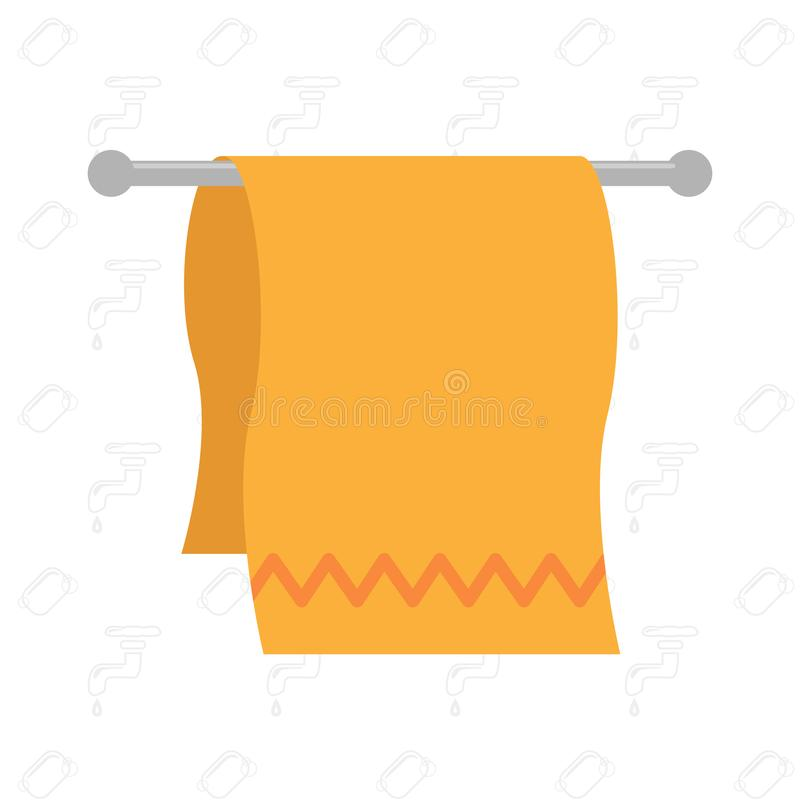 Fluffy cotton kitchen towel of orange color weighs on the holder for towels. Vector illustration. Fluffy cotton kitchen towel of orange color weighs on the stock illustration