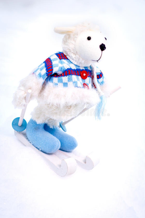 Download Fluffy Cute Soft Toy Sheep Skiing Stock Image - Image: 72445105