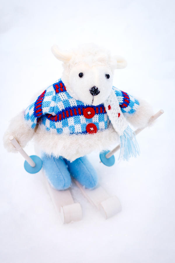Download Fluffy Cute Soft Toy Sheep Skiing Stock Image - Image: 72445219