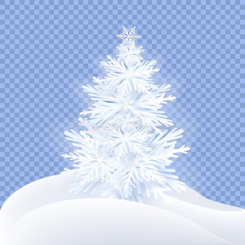 Fluffy decorative paper cut Christmas Tree. stock photos