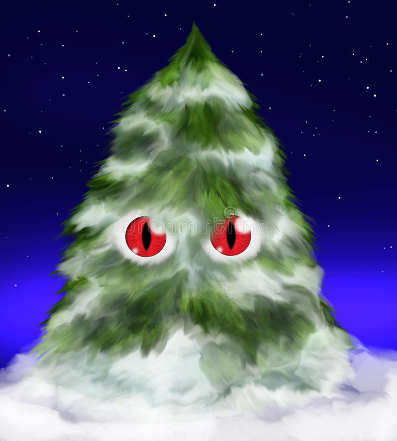 Fluffy evil fir tree with eyes and snow. Funny fir tree - fluffy, red eyed and evil - covered with snow, standing under stars in the night stock illustration