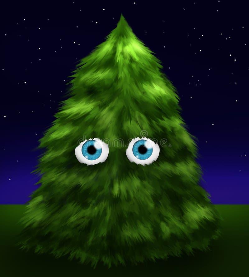 Download Fluffy fir tree with eyes stock illustration. Illustration of midnight - 11693378