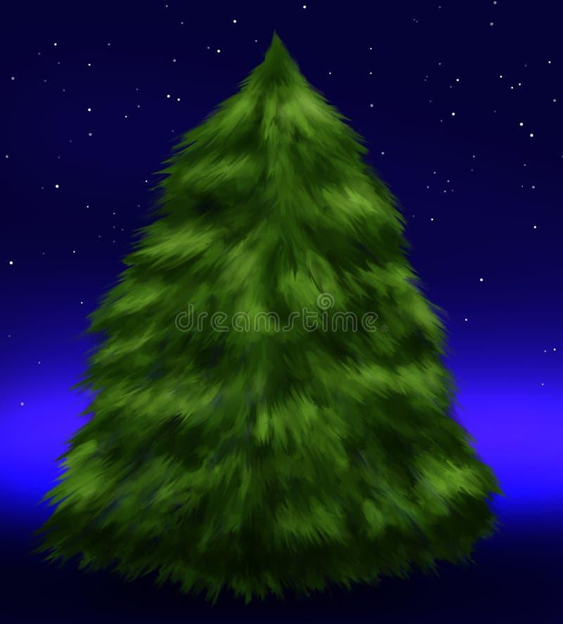 Fluffy fir tree under stars vector illustration