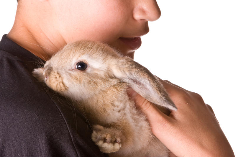 Fluffy friend. Young boy holding his seven weeks old furry friend stock photo