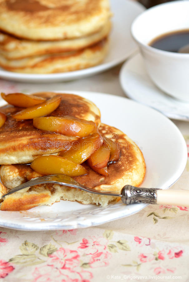 Download Fluffy pancakes stock image. Image of fork, nectarines - 21709805