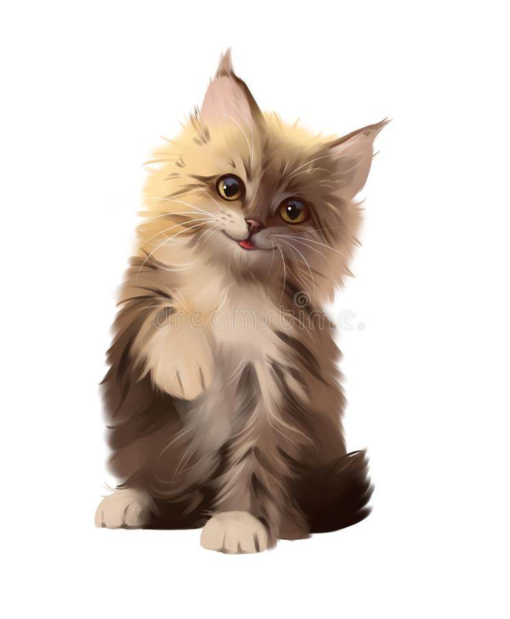 Fluffy red kitten smiles. Watercolor drawing royalty free stock photo