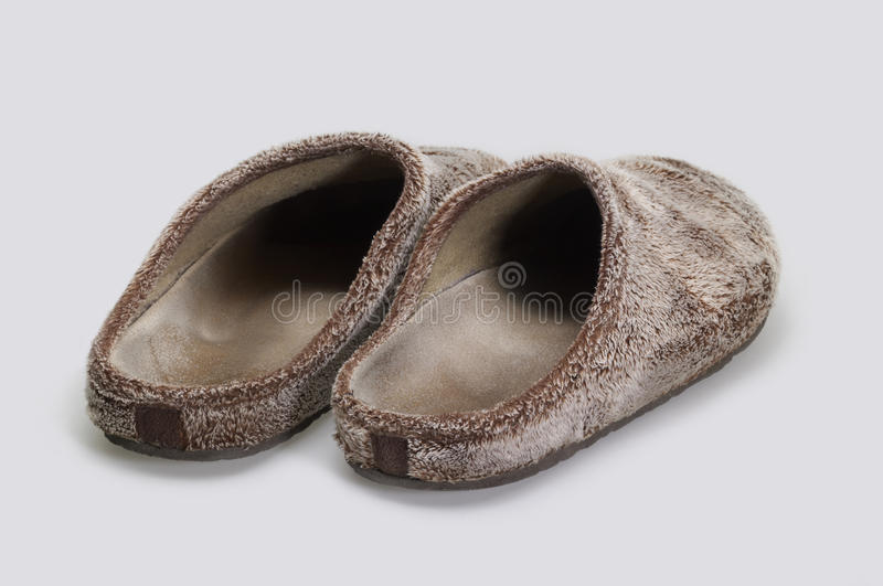 Fluffy slippers stock photos