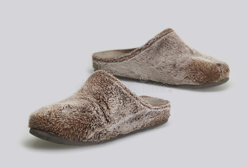 Fluffy slippers royalty free stock photos