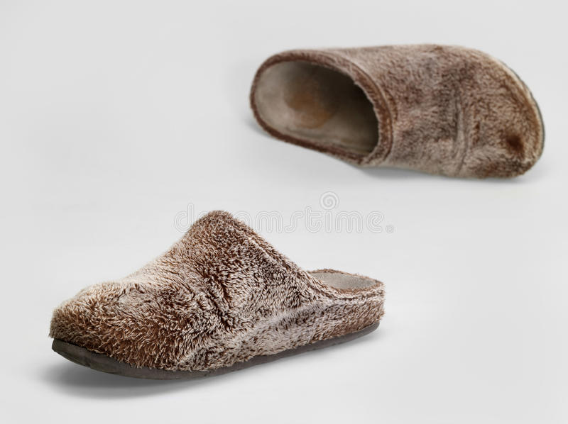 Fluffy slippers stock photo