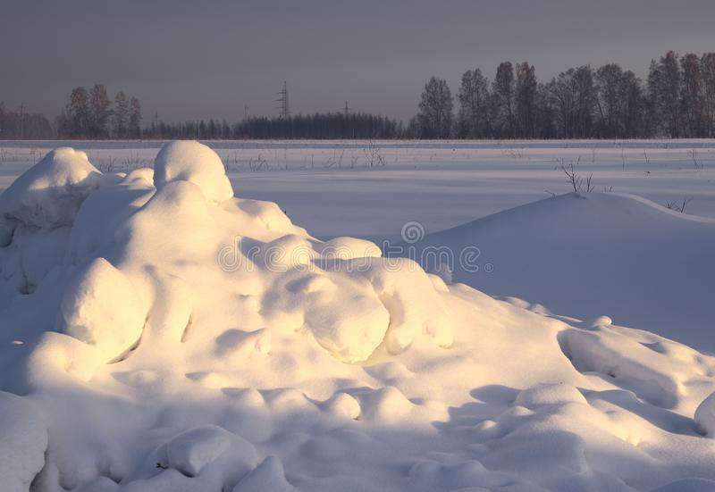 Fluffy snow drifts in the morning rays. Fluffy round drifts of snow in the morning rays. Snow plain, trees in the distance. Contrast lighting. Nature of Siberia stock images