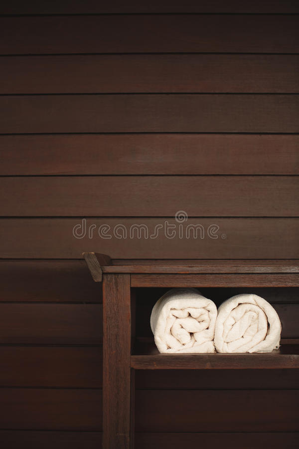 Download Fluffy Towels And Seashells On Beach Table Stock Image - Image of health, clean: 38805585