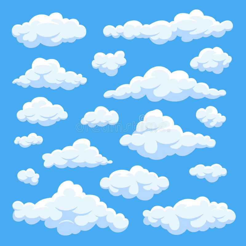 Fluffy white cartoon clouds in blue sky vector set. Cloudy day heaven. Cartoon cloudy fluffy illustration stock illustration