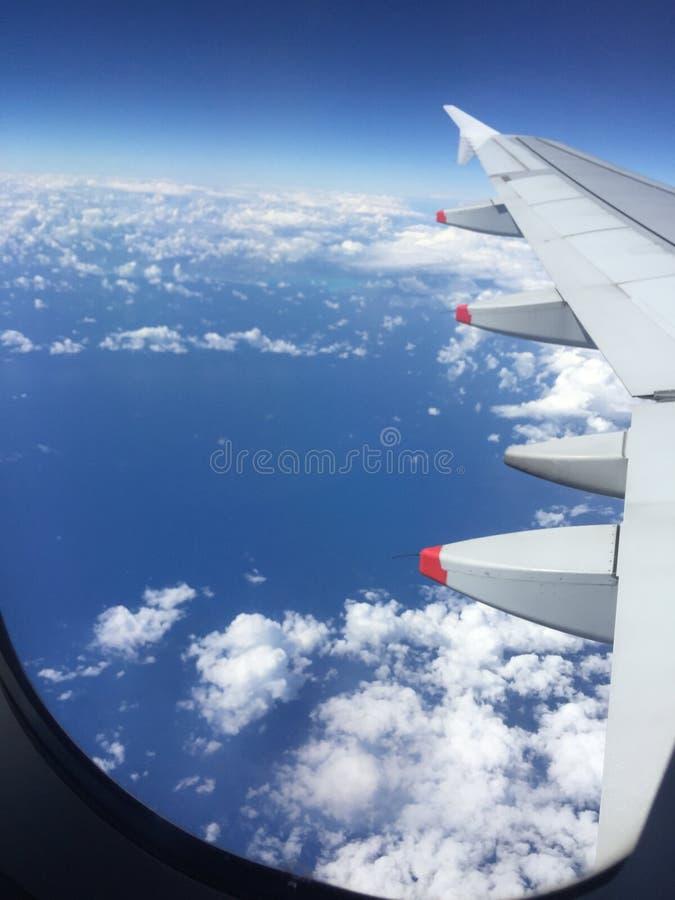 Flug über dem Ozean stockbild