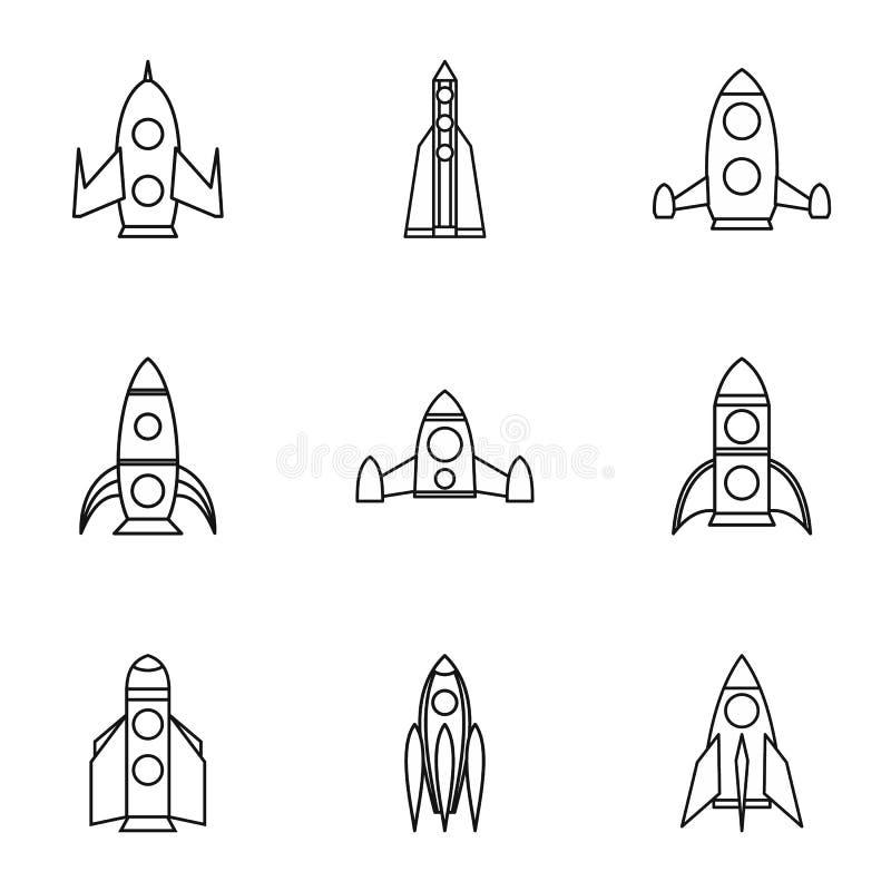 Flug in cosmo Ikonen stellte ein, umreißt Art stock abbildung
