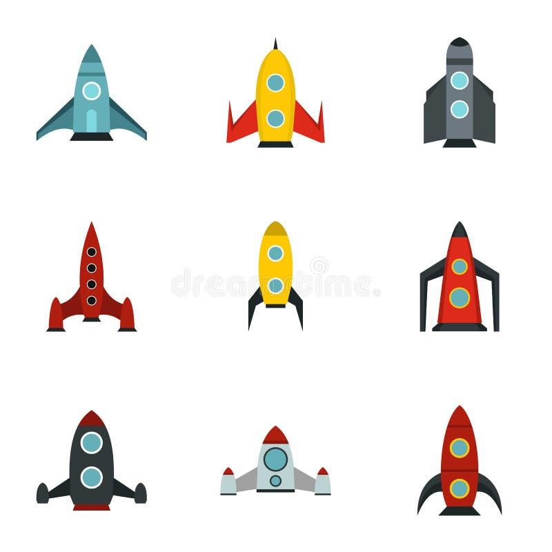 Flug in cosmo Ikonen stellte, flache Art ein vektor abbildung