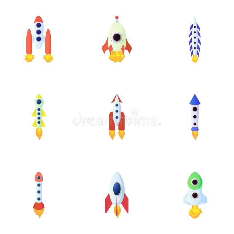 Flug in cosmo Ikonen stellte, Karikaturart ein lizenzfreie abbildung