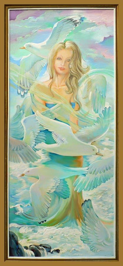Flug der Fantasie Porträt eines schönen Mädchens, das unter den Seemöwen träumt Ölgemälde auf Segeltuch vektor abbildung