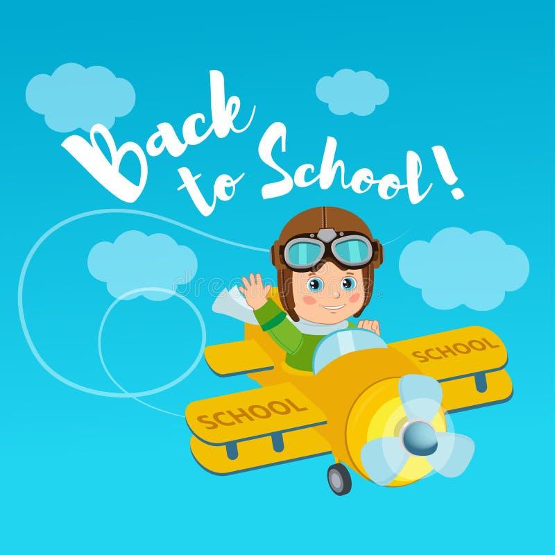 Flug der Fantasie Willkommen zurück zu Schulevektorillustration Fahnen-Bildungs-Konzept lizenzfreie abbildung