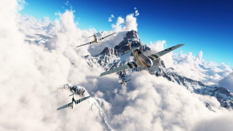 Flug der Mustangs Mustangs P51, die nach Hause hoch von einem Auftrag über den Wolken zurückgehen stockbild