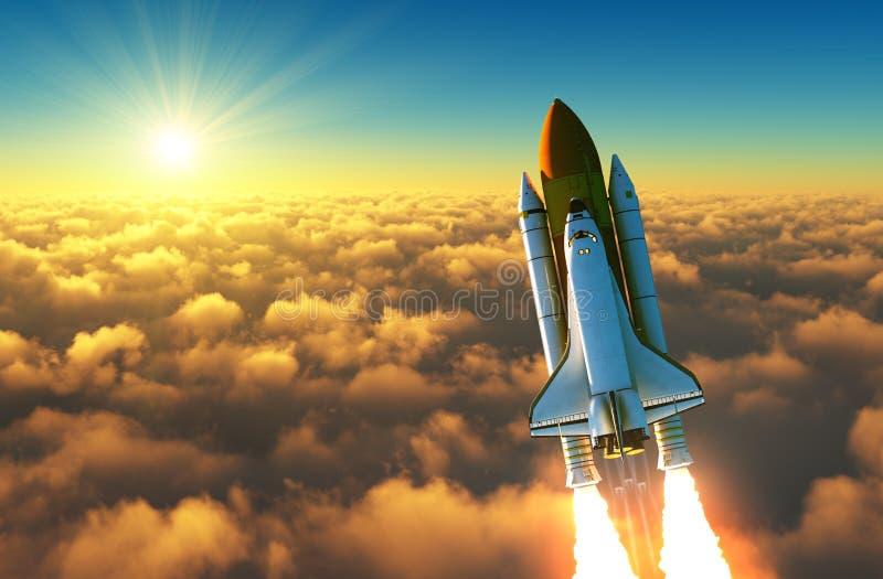Flug der Raumfähre über den Wolken in den Strahlen des aufgehende Sonne lizenzfreie abbildung