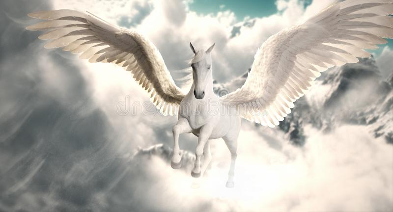 Flug des Pegasus Majestätisches Pegasus-Pferd, das hoch über die Wolken fliegen und Schnee ragten Berge empor stock abbildung