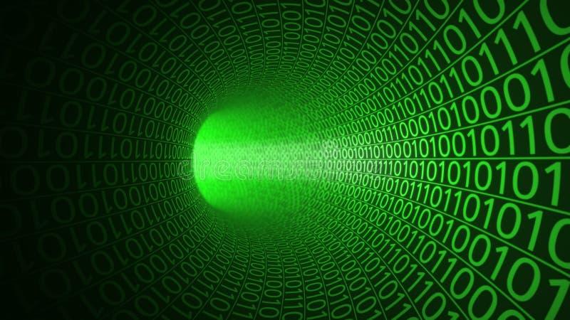 Flug durch den abstrakten grünen Tunnel hergestellt mit null und einen Hightech- Hintergrund IT, binäre Datenübertragung, digital