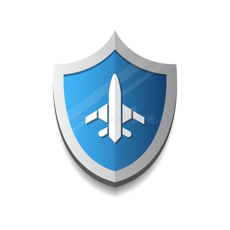 Flug-Firma Logo Plane On Shield Icon stock abbildung