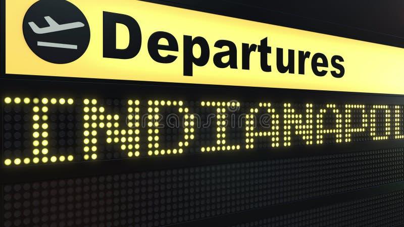Flug nach Indianapolis auf Abfahrtstafel des internationalen Flughafens Reisen in die Vereinigten Staaten Begriffs-3D lizenzfreie stockbilder