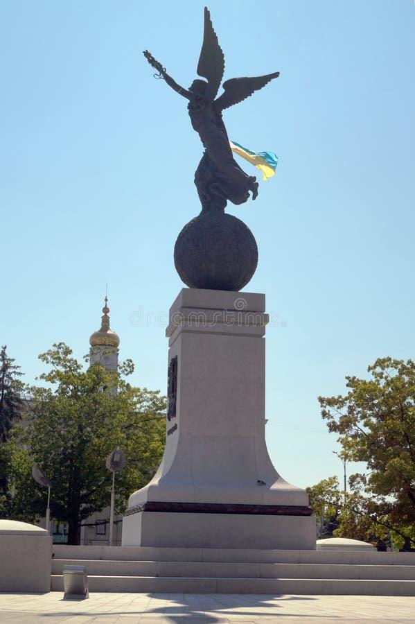 Flug Ukraine Charkiws Monumet lizenzfreie stockfotos