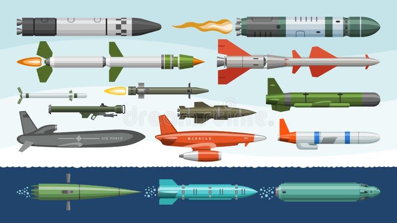 Flug-Vektor stellten Militär-missilery Raketenwaffe und ballistische Atombombeillustration Militär- von der Rakete ein lizenzfreie abbildung