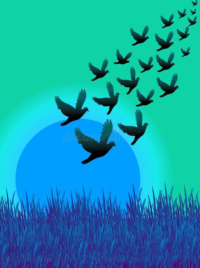 fluga för 03 fåglar royaltyfri illustrationer