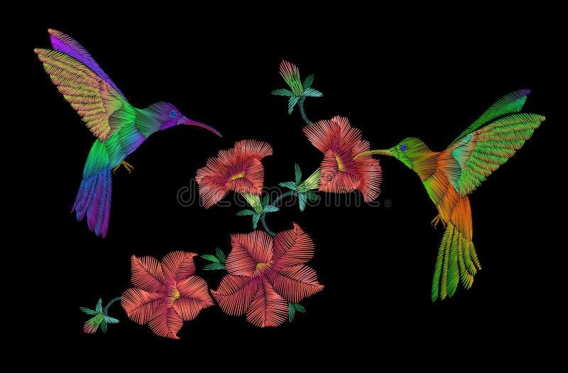 Fluga för broderiklobrifåglar över petuniablommor royaltyfri illustrationer
