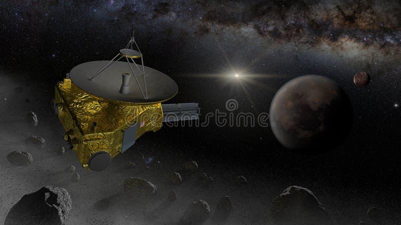 Fluga för New Horizons utrymmesond in i det Kuiper bältet stock illustrationer