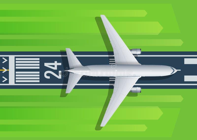 Fluga för passagerarenivå upp över tagande-avlandningsbana från flygplats För flygbolag lopp, design för transportföretagswebbsid royaltyfri illustrationer