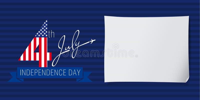 Fluga för självständighetsdagenUSA baner stock illustrationer