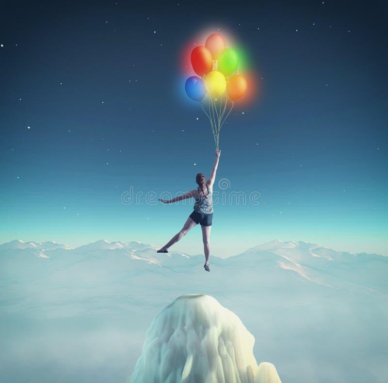 Fluga med ballonger royaltyfria bilder