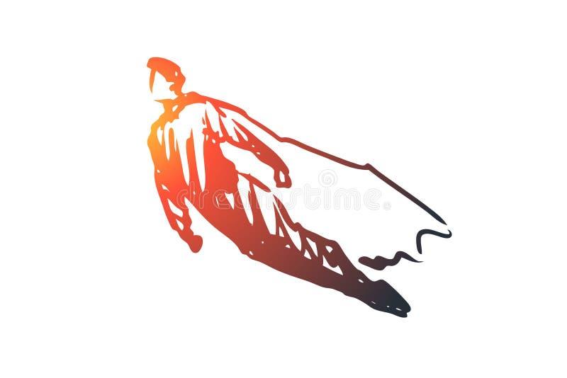 Fluga superhero, kraftigt starkt begrepp Hand dragen isolerad vektor stock illustrationer